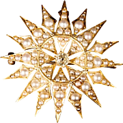 SALE 14K Seed Pearls and Diamond Sun Burst Brooch Pendant   'EXQUISITE""