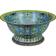 """SALE Gorgeous 19C  15 """" Chinese Cloisonné Footed Bowl"""