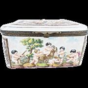 "SALE Wonderful Antique Capodimonte ""Putti, Tiger and Goat""  Casket Hinged Box."
