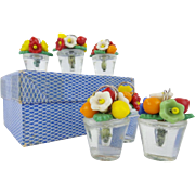 SALE Six Czech Glass Fruit and Flowers Place Card Holder Set In the Original Cardboard Box