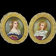 """SALE PAIR Antique French Porcelain Miniatures """"PRETTY LADIES"""""""