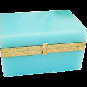 "Antique Blue Opaline Casket Hinged Box ""GREAT COLOR'"