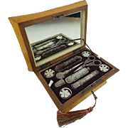 "SALE Grandest 1830 Musical Etui  Necessaire Sewing Box "" 9 ORIGINAL PIECES"""