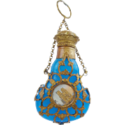 """SALE Antique Palais Royal Blue Opaline Scent """"TWO MINIATURES"""""""