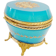 """Antique French Turquoise Opaline Hinged Box Casket """"STAMPED FRANCE"""""""