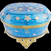 "SALE Antique Moser Blue Casket Hinged Box ""VERY FINE GILDING"""