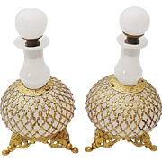 """SALE Antique French White Opaline Scents Bottles  """"A PAIR """"Exquisite Footed Base"""