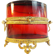 """SALE Antique French Ruby Double Handle Casket Hinged Box MAGNIFICENT COLOR"""""""