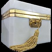"SALE Antique French White Opaline Casket Hinged Box  ""CREAMY WHITE OPALINE"""