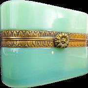 "SALE Antique French Green Opaline Casket Hinged Box "" FANCY MOUNTS & CLASP"""