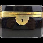 "SALE Antique French Black Opaline Casket Hinged Box ""A BEAUTY!""  EXQUISITE"