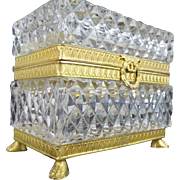"""SALE Antique French Cut Crystal Paw Foot Casket Hinged Box """"KILLER BOX"""""""