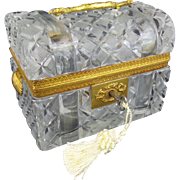 """SALE Antique French Crystal Dome Top Trunk Casket Hinged Box """"DOUBLE SHELL HANDLES"""""""