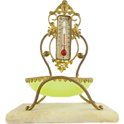 """SALE Palais Royal Thermometer Stand  """" w LIME GREEN OPALINE TRINKET DISH"""""""