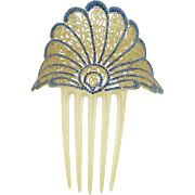 """Jeweled Celluloid Hair Comb """" BIG & EXQUISITE"""""""