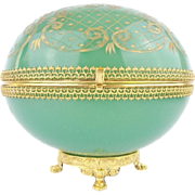 """SALE Huge Antique French Green Opaline Casket Hinged Box """"MAGNIFICENT PAW FOOT BASE"""""""