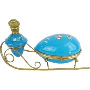 """SOLD Antique French Blue Opaline Scent Caddy """"BEAUTIFUL COLOR"""""""