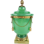 """SALE 10 ½"""" Antique French Green Opaline Covered Cachepot """" DRIPPING IN GILT CHAINS & T"""