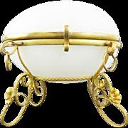 SALE Napoleon III White Opaline Casket Hinged Box