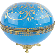 """SALE Antique French Blue Opaline Casket Hinged Box """"BIG & PAW FOOTED BASE"""""""