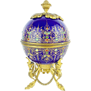 """t Antique French Sevres Jeweled & Enamel Scent Casket MAGNIFICENT W THREE BOTTLES"""""""