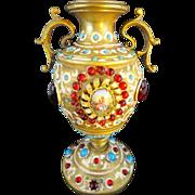 "SALE Antique Austrian Bronze Jeweled  Enamel Urn Vase ""PORCELAIN PLAQUES W PASTORAL SCENE"