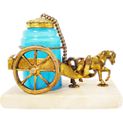 SALE Palais Royal Opaline Inkwell Horse Cart.