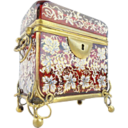 "SALE Antique Moser  Sugar Casket  with Double Handle "" MAGNIFICENT HAND ENAMEL RUBY GLASS"