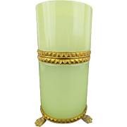 """SALE Antique French Green Opaline Tall Paw Foot Hinged Box YUMMY LEMON GREEN"""""""