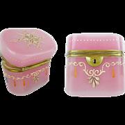 """SALE Antique Bohemian Pink Opaline Hinged Box """" DEVINE OVAL SHAPE & ENAMEL"""""""