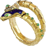 "SALE 14KARAT ARTICULATED SNAKE BRACELET ""DIAMONDS &  EMERALDS """