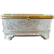 """SALE Antique French Crystal Casket Hinged Box """"BIG & EXQUISITE"""""""