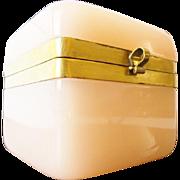 "SALE Antique Pink Opaline Casket Hinged Box ""LUSCIOUS PINK OPALINE"""