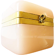 """SALE Antique French Pink Opaline Casket Hinged Box """"BEAUTIFUL PINK OPALINE"""""""