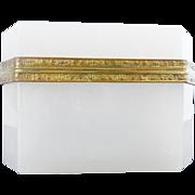 "SALE Antique French White Opaline Casket Hinged Box ""BEAUTIFUL SHAPE,SIZE, & MOUNTS"""