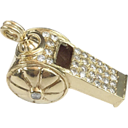 "SALE 14KARAT Yellow Gold Diamond Whistle ""RARE & WONDERFUL"""