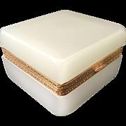 SALE Magnificent Antique White Opaline Casket Hinged Box