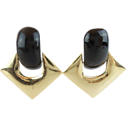 "SALE Black Onyx 14KARAT Earrings  ""QUALITY & COMFORT BACKS"""