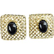 "SALE Very Fine 14KARAT and Onyx Earrings ""EXQUISITE"""