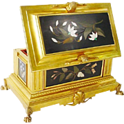 "Grandest French Gilt Bronze Pietra Dura Casket Hinged Box "" FIVE MAGNIFICENT PLAQUES""."