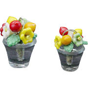 SOLD Six Czech Glass Fruit and Flowers Place Card Holder Set
