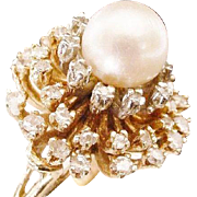 Fabulous 14KARAT,  Diamond  and  Cultured Akoya Pearl Ring