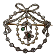 SOLD LAYAWAY Antique 18Karat Diamond and Pearl Wreath Pin with Emeralds