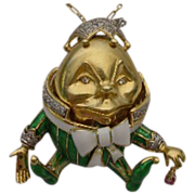 SALE 18Karat Humpty Dumpty Jeweled Enamel  Pendant