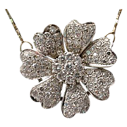 SALE Diamond Flower Necklace