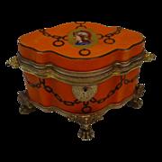 "SOLD WWW Antique Bohemian Porcelain  Casket Hinged Box "" FAB Shape"""