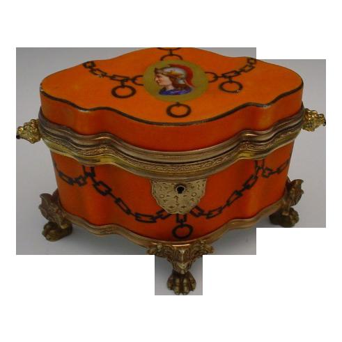 """Antique Bohemian Porcelain  Casket Hinged Box """" FAB Shape"""""""