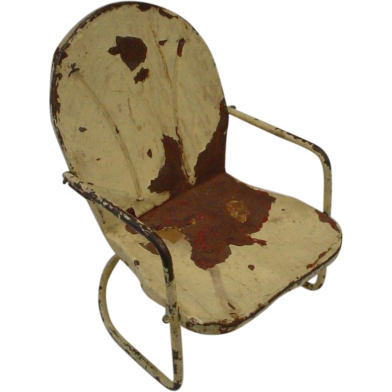 Adorable  Shabby Chic Metal Rocking Doll Chair