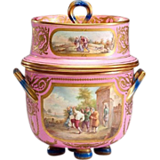 "SALE Glorious Antique English Porcelain Ice Cream Jar ""Luscious Pink"""