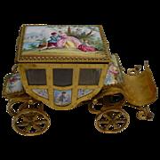 """SOLD Antique 7"""" Austrian Miniature Enamel Coach  """"Nine Enamel Plaques"""""""